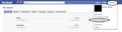 facebook account area