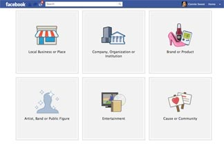 Graphic of Facebook business category options