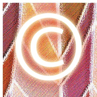 copyright symbol graphic with colorful graphic