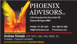 Phoenix Advisors Business Card samples