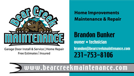 Business card sample of Bear Creek Maintenance