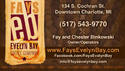 Fay's Evelyn Bay Coffee Shop Business Card