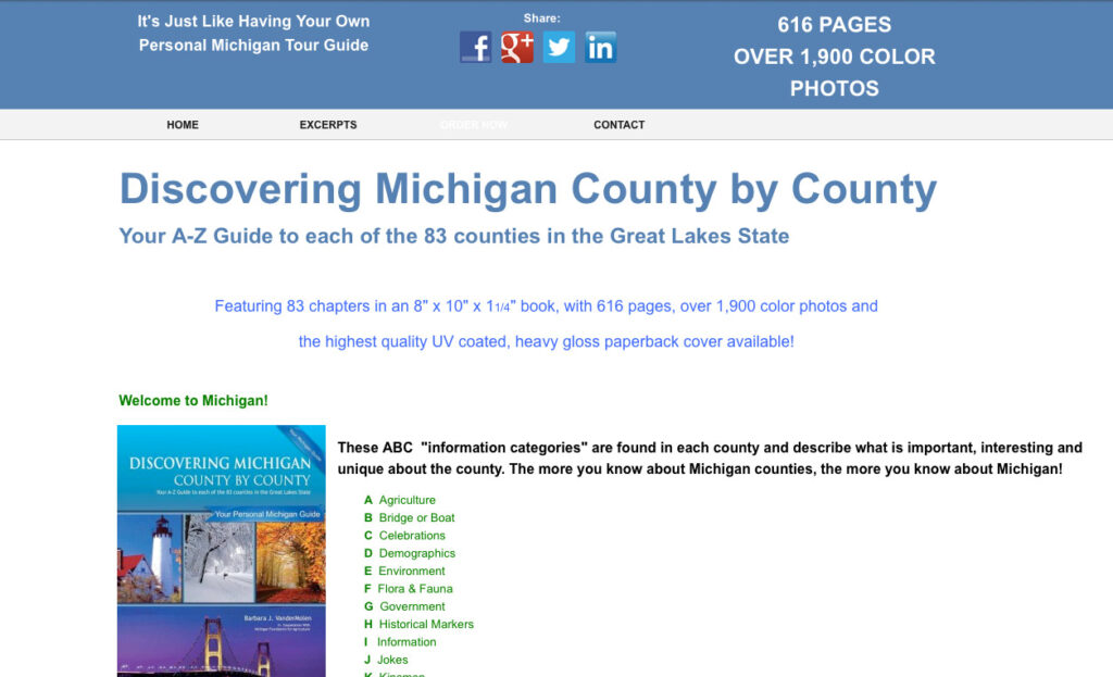 Screen cap of Discovering Michigan County by County website.