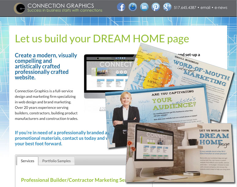 Combined campaigns example with website landing page and direct mail postcards