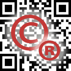 Copyright and registration mark icons on QR code.